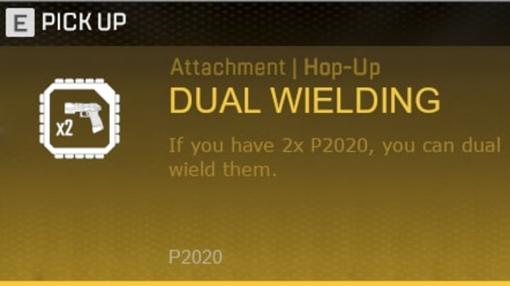 A Dual Wielding Hop-Up attachment for one-handed guns could be implemented pretty easily.