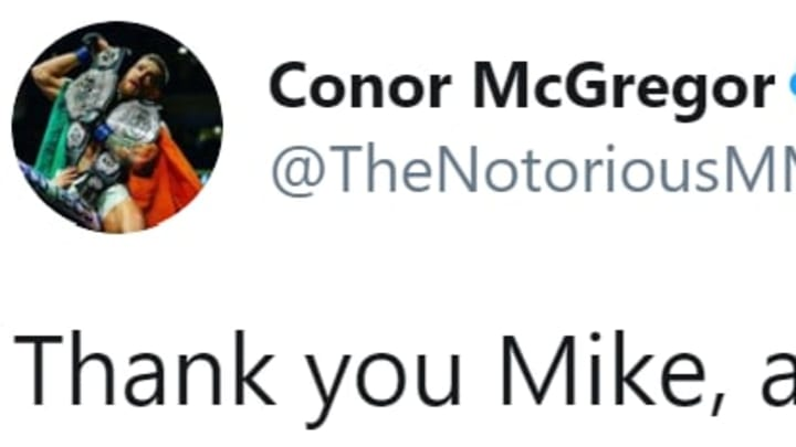 Conor McGregor responding to Mike Tyson, and saying that he will defeated Floyd Mayweather in a rematch