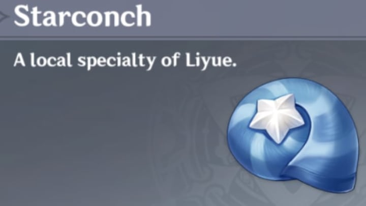 Find starconch on the coasts of Liyue
