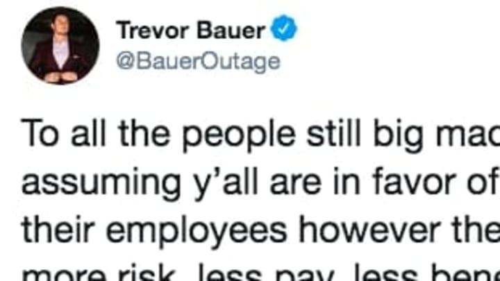 Cincinnati Reds pitcher Trevor Bauer on Twitter