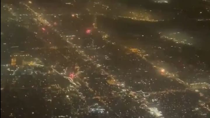 Illegal fireworks exploding over Los Angeles