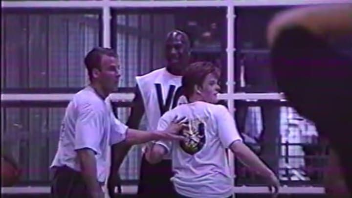 Michael Jordan facing a double-team.