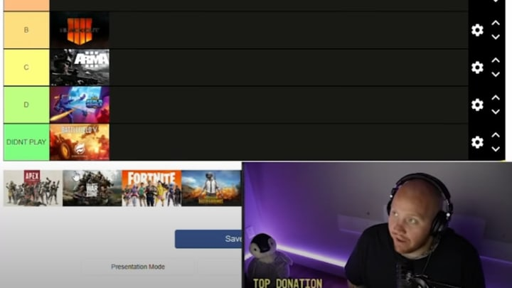 Timthetatman in the midst of placing all the battle royale games on one tier list