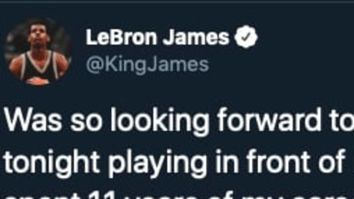 Lakers star LeBron James tweeted out a message to his fans in Cleveland on the day he would have returned to take on the Cavaliers.