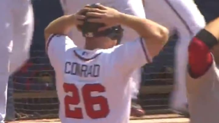 Brooks Conrad in disbelief after he hit the walk off grand slam
