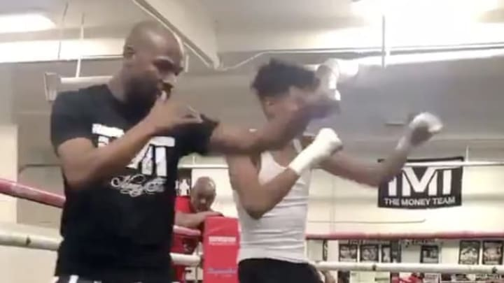 Floyd Mayweather got back in the ring to show his 20-year-old son some of his best moves.