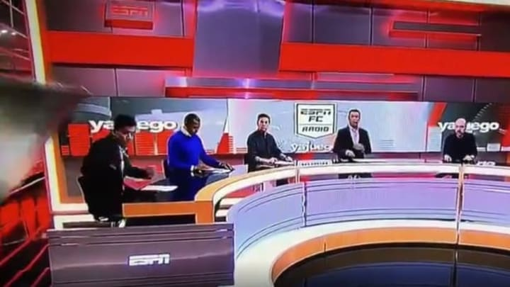 Carlos Orduz walked away from a terrifying on-set incident during an ESPN Colombia soccer program broadcast.