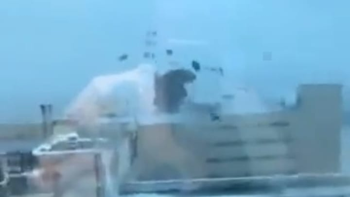 Footage showing the roof ripped off Ochsner Medical Center in Jefferson, Louisiana by Hurricane Ida