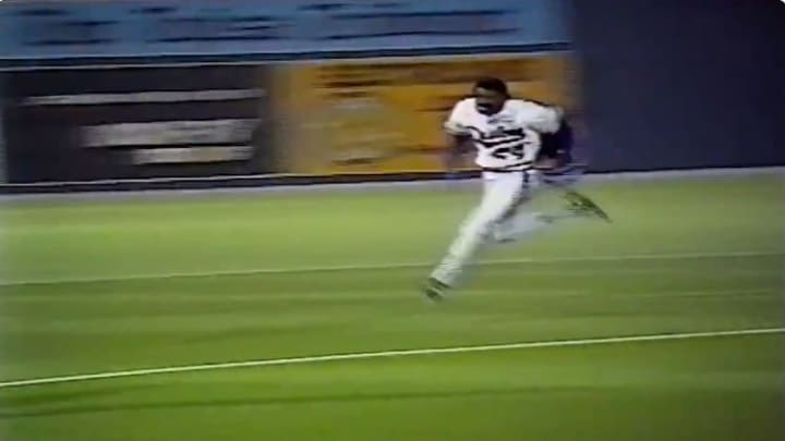 Sammy Sosa running the bases after an inside the park home run in the minor leagues in 1989