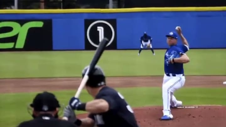 Blue Jays prospect Nate Pearson rears back for another of many swinging strikes.
