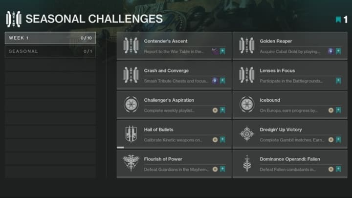 The first batch of Seasonal Challenges just went live