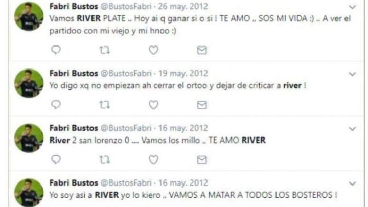 Boca quiere a Fabricio Bustos y se hicieron virales sus twitts demostrando su fanatismo por River 1