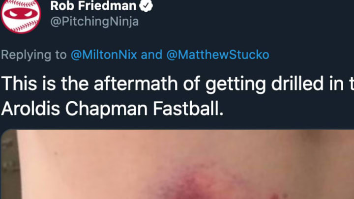 Getting beaned by an Aroldis Chapman fastball looks ridiculously painful.