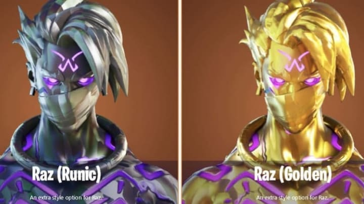 Raz, Tarana and the Spire Assassin have all received special Enlightened Skins for Fortnite Chapter 2 Season 6