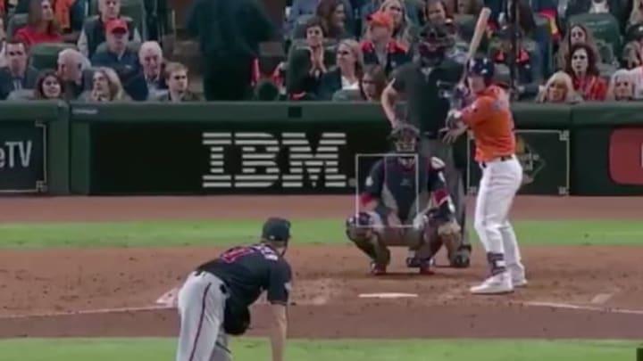 Nationals hurler Max Scherzer against Astros third baseman Alex Bregman in Game 7 of the 2019 World Series