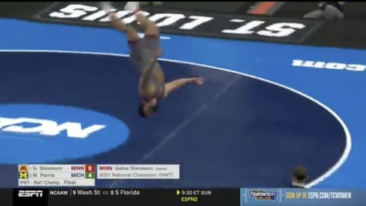 Gable Steveson can fly.