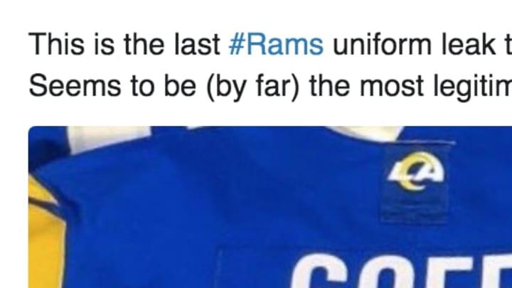 Los Angeles Rams uniforms leak