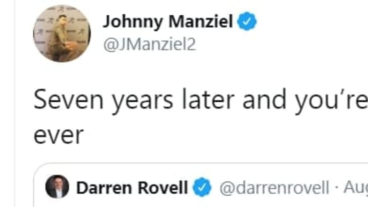 Johnny Manziel fired back at Darren Rovell after being insulted on Twitter.
