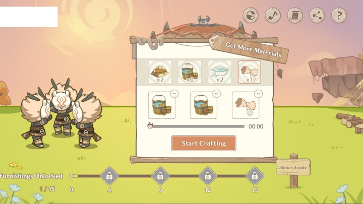 Participants can craft items from the following screen.
