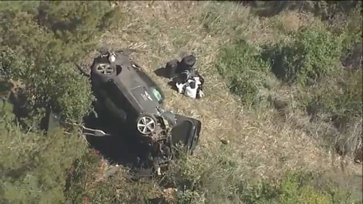 Tiger Woods' car after a rollover crash
