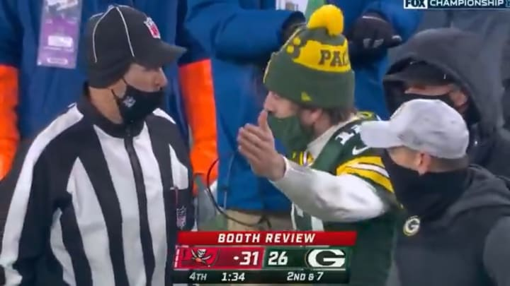 Aaron Rodgers yells at officials during the NFC Championship Game
