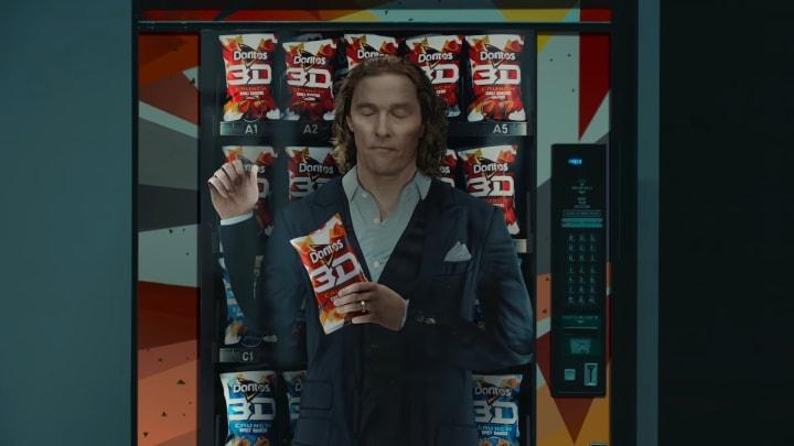"Matthew McConaughey as ""Flat Matthew"" in Doritos 3D's Super Bowl LV commercial"