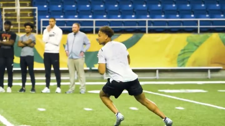 Trey Lance works out at his second Pro Day