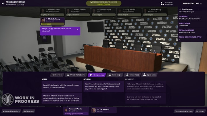 Press conference communication has been further improved (Photo: Sports Interactive)