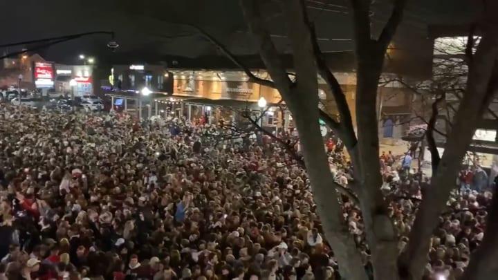 Tuscaloosa celebration after Alabama defeats Ohio State for College Football National Championship.