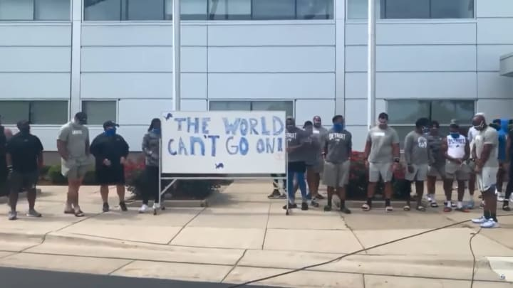 The Detroit Lions protest the shooting of Jacob Blake