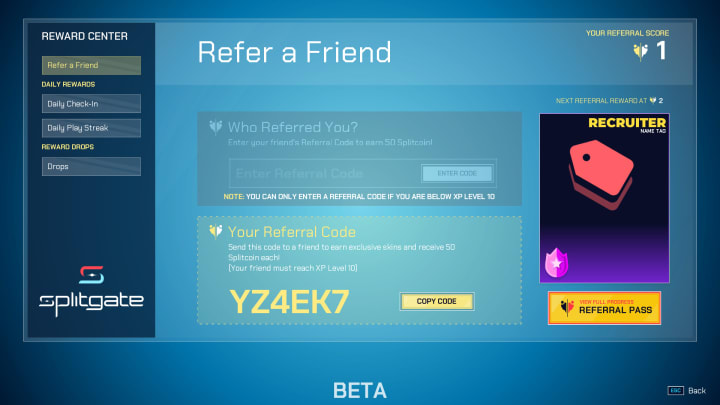 Refer a Friend screen