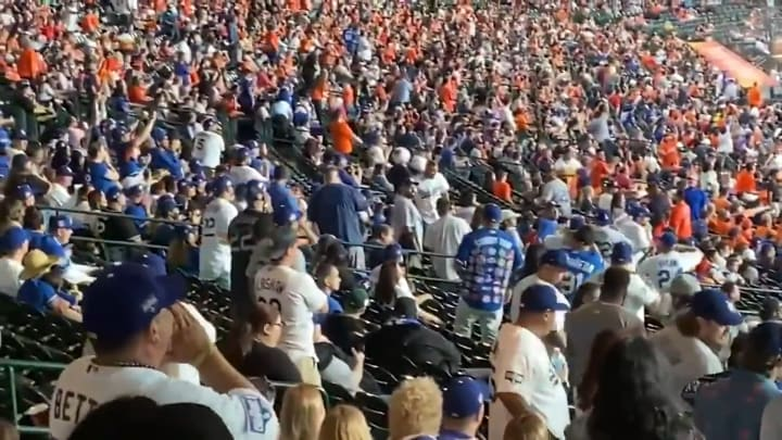"""Los Angeles Dodgers fans yell """"cheaters"""" at the Houston Astros"""