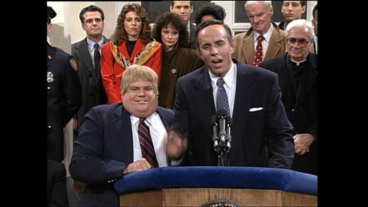 "Chris Farley as Andrew Giuliani on ""Saturday Night Live"""