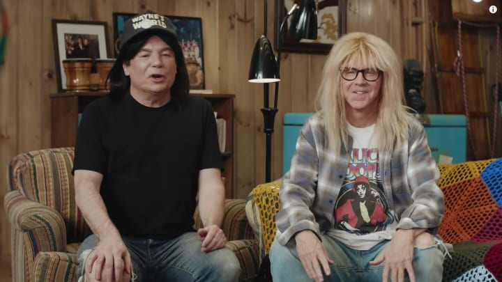 """Mike Myers and Dana Carvey reunite in a """"Wayne's World"""" Super Bowl commercial for Uber Eats."""
