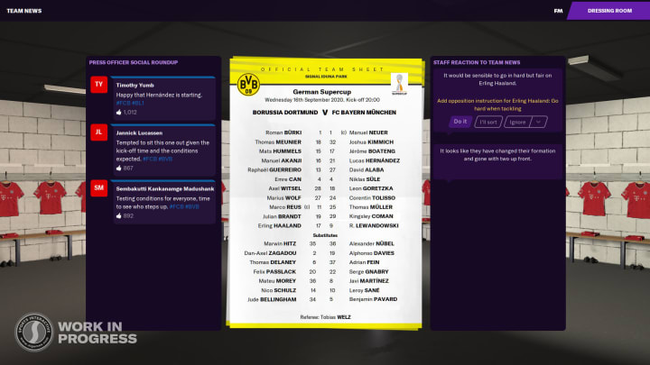 Opposition team sheets allow for tactics to be tweaked accordingly pre-match (photo: Sports Interactive)