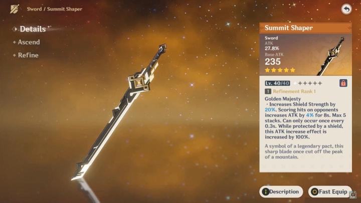Summit Shaper's description in game