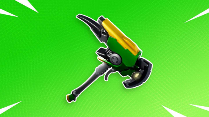 The Emerald Smasher Axe harvesting tool is an item that rotates in and out of the item shop.