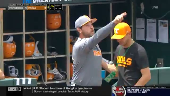 Tennessee assistant coach Ross Kivett gets ejected at the College World Series