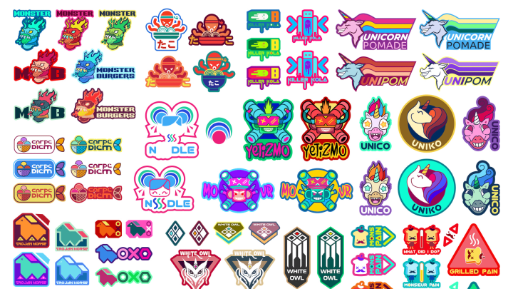 Some of the stickers in the Glitchpop collection.