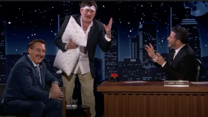 Mike Lindell, Fake Mike Lindell and Jimmy Kimmel.