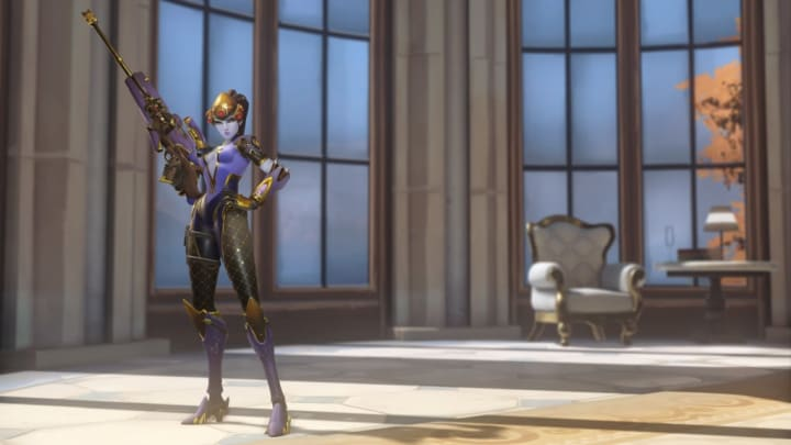 Fleur de Lis Widowmaker is a new epic skin in Overwatch for the Anniversary event.