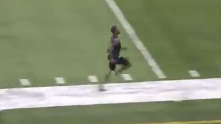 Alabama WR Henry Ruggs running a 4.28 40 meter dash at the NFL Scouting Combine.