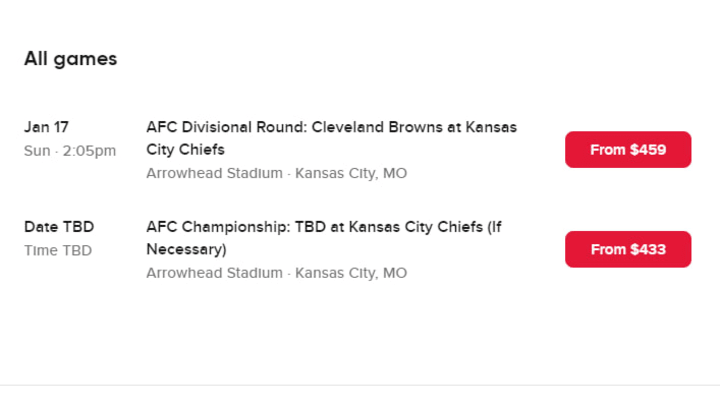 Browns vs Chiefs ticket prices have been released for the NFL Playoff Divisional Round matchup.