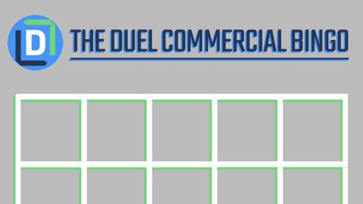 The Duel Super Bowl Commercial Bingo template.