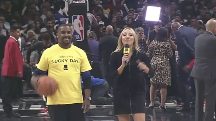 """Clippers in-arena host Hannah Cormier surprisingly roasted a """"lucky"""" fan during Sunday's half-court shot contest at Staples Center."""