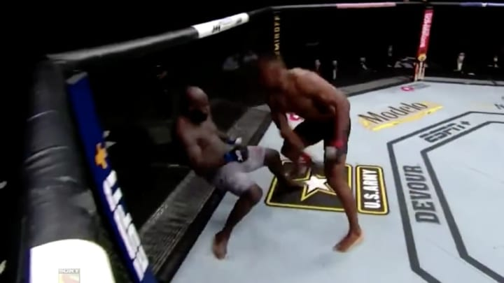 Heavyweight contender Francis Ngannou destroys Jairzinho Rozenstruik by KO with a flurry of strikes at UFC 249