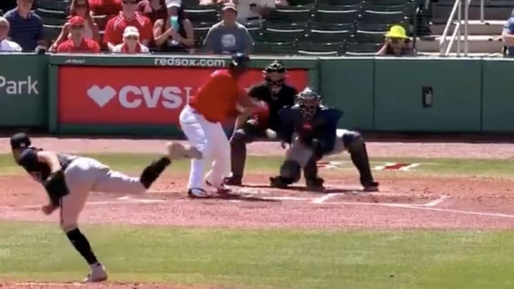 Rafael Devers makes Mike Foltynewicz pay with a two-run shot