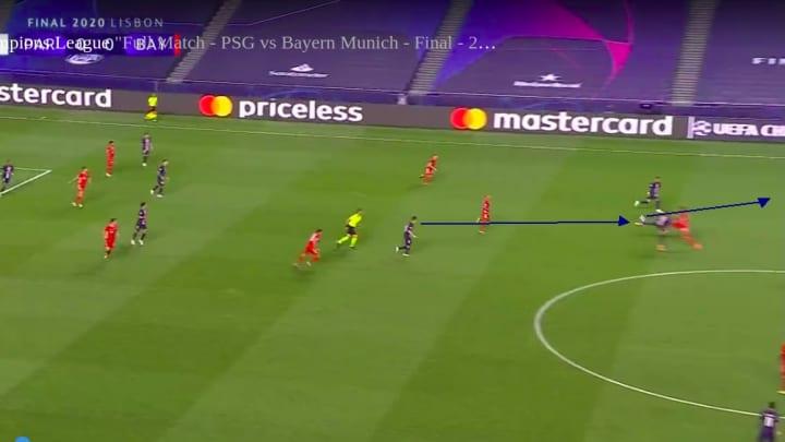PSG starting an attack vs Bayern
