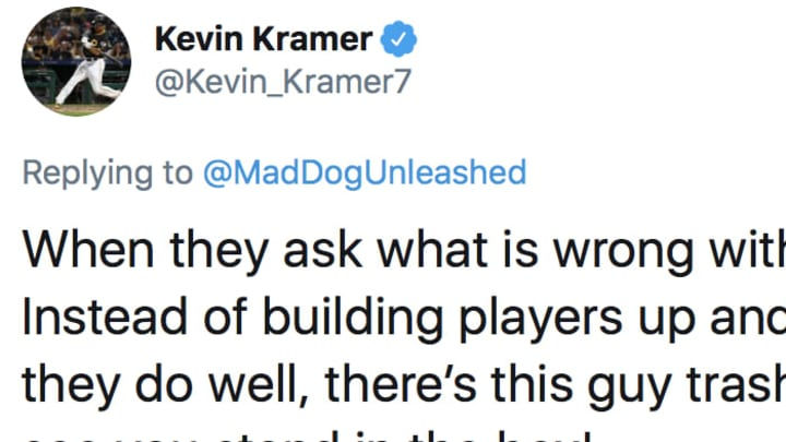 "Pittsburgh Pirates IF Kevin Kramer responds to Chris ""Mad Dog"" Russo's statement that underperforming players shouldn't tweet about the labor dispute."