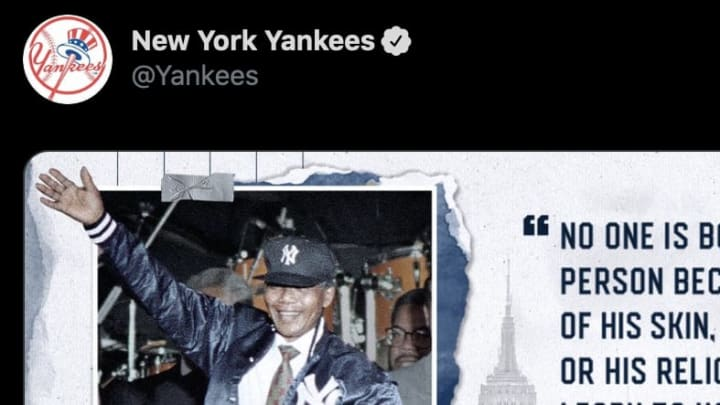 """The New York Yankees tweeted a quote from Nelson Mandela in lieu of an official statement on """"Blackout Tuesday."""""""